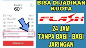 cara mengubah kuota entertainment ke kuota utama flash reguler